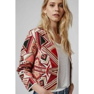 Topshop embroidered Aztec print jacket